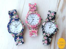 2015 Christmas gift New Fashion Flower Printed Watch Stainless Steel Geneva Watch For Women Dress Watch Quartz Watches 1piece