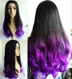 Resistente para el cabello de calor en Línea-Peluca sintética púrpura negra / púrpura natural del pelo de Ombre Two de la peluca / pelo púrpura impermeable del pelo NUEVO ENVÍO LIBRE