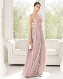 Wholesale 2015 Hot Pink Prom Dresses Sheer Scoop Lace Evening Flowers A Line Formal Sash Bridesmaid Gown Floor Length Aire U248