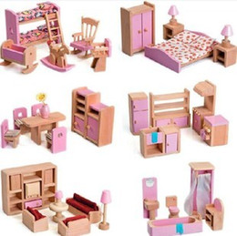 Wholesale Wooden Dolls Accessories Fits American Girl Doll Wooden Kitchen Diner Bedroom Play Dessert Set