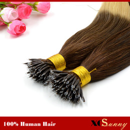 "XCSUNNY Stock Nano Ring Remy Hair Extensions 18"" 20"" Nano Bead Malaysian Hair Extensions + 100beads Nano Loop Hair Extensions"