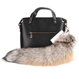 Wholesale Ursfur Real Golden Island Fox Tail Fur Keychain Bag Keyring Authentic Fox Fur Tail Keychain Tassel Bag Hanging Tag Charm Handbag Accessory