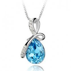 Wholesale high quality Angel Tears Womens White Gold Filled AAA CZ Crystal Necklace Pendant five colors