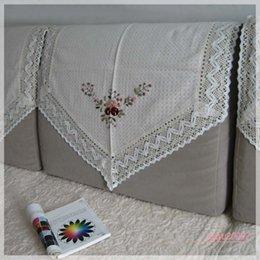 Wholesale Beautiful beige ribbon embroidery sofa armrest sofa