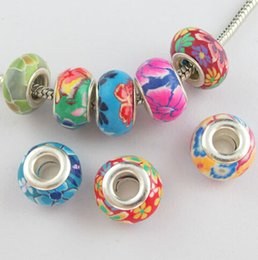 Wholesale MIC mm Mixed Polymer Fimo Clay mm Big Hole Spacer Charm Beads Fit Bracelet IN Stock