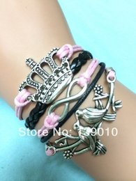 Wholesale ashion Jewelry Bracelets Hot Sale Hand woven Black Pink Leather Ribbon Rope Bird Imperial Crown Infinity Bracelet Trendy Girl Antique Gif