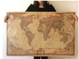 Wholesale Super Large Medium English World Map Hot Home Decor Kraft Wallpaper Stickers Decoration Decals For Walls