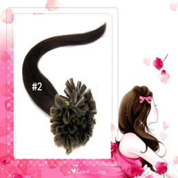 "wholesale -200s pack 1g s 14''- 24"" Keratin Stick u Tip Human Hair Extensions Peruvian hair 2# dark brown dhl Fast shipping"
