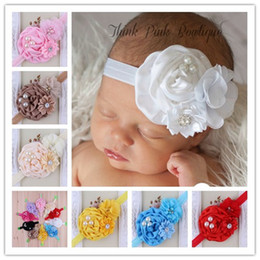 10pcs New Baby Flower Headbands Girl Rose Flower hairbands With Pearl Rhinestone Hair Accessories For Photography Props Artificial Headband