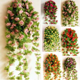 Wholesale Artificial Silk Lifelike quot Mini Rose Flower Vine Rattan Garland Bush Plant Wedding Party Home Store Hotel Decoration Colors