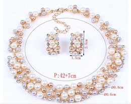 Wholesale The new Europe and the United States in big name fashion imitation pearl brief paragraph bride necklace earrings suit