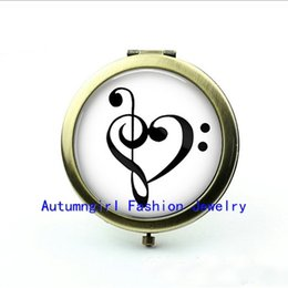 Wholesale New Arrival Treble and Bass Clef Pocket Mirror Glass Picture Jewelry Antique Pocket Mirrors Cute Compact Mirror