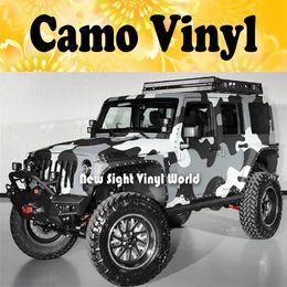 Jumbo Camo Sticker Bomb Vinyl Car Wrap Black Grey White Snow Camouflage Vinyl Bubble Free Size:1.50*30m Roll