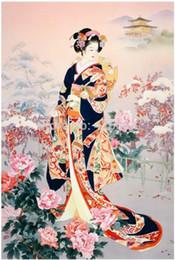 DIY Unfinished Diamond Painting Sets Rhinestone Pasted Decorative Painting Craft Kits Japanese Maidservant