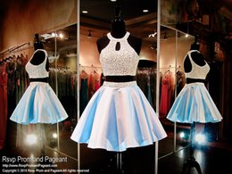 Wholesale Powder Blue Short Two Pieces Cocktail Party Dress High Halter Neckline Beaded Pearls Bodice Open Back Sexy Short Prom Dresses Cheap