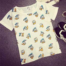New Summer Fashion T Shirts Women Loose Girl Short Sleeve O-neck T-shirt Cartoon Print T-shirts Brand Tops Tee