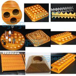 Wholesale e cigs display wood display wooden shelf stands rack wood holder for ego battery atomizer RDA mechanical mods mod e cigarette vaporizer