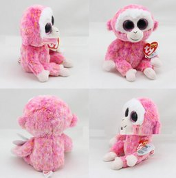 2016 New Design 20cm Pink Monkey Stuffed Animal Toy with Big Crystal Eyes Kids Gift for Festival Birthday Party