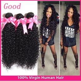 Promotion peut teindre remy extensions de cheveux 6A Brazilian Hair 3 Bundles Vierges trames cheveux crépus cheveux bouclés tisse Non traité brésilienne Remy Hair Extensions cheveux doux peut être teint
