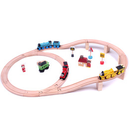 Wholesale Wooden Trains Tracks Toys Orbit Trains Kids Educational DIY Wooden Toys Track set for Kids Gifts