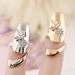 Wholesale High quality Crystal flower Dragonfly design Nail Rings silver Gold plated Finger Adjustable ring vintage charm Queen jewelry for women