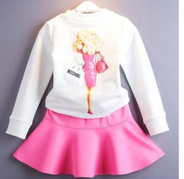 Wholesale 2016 Autumn Girls Barbie doll Pattern Dress Suits Long Sleeve Cartoon Pullover Tshirt Ballet Skirt Princess girl suit Outfits
