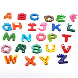 Wholesale 2017 hot set Fridge Wooden Magnet Baby Child Toy A Z ABC Educational Alphabet Letters YKS