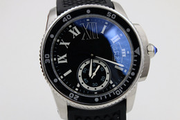 Wholesale new Luxury automatic caliber DIVER black rubberband glass back sport sapphire quality big dial