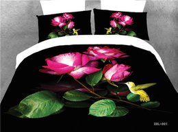 Wholesale-3D Black Red Rose Bedding Sets,100% polyester home textile bedding without quilt,Queen Size Rose Wedding Duvet Cover For Girls