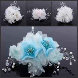 Free Shipping Flowers Hair Accessories White Blue Or Pink Wedding Accessories With Pearl Bead Evening Prom Party Fascinators Embellished