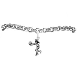 Volleyball Figure Women Sport Charm Rolo Chain Bracelets 100pcs A lot Link Chain Antique Silver Plated