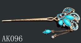 Wholesale hot sell Vintage fashion flower rhinestone Hair sticks fork Hair hair jewelry Accessories mixed color AK096
