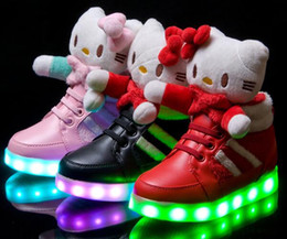Wholesale 2015 Winter Chilren Led Lighter Shoe Snow Winter Boots Cartoon Kitty Girl Botts Size Color Pink Black Red One Piece Drop Shipping