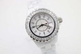 NEW Top quality wristwtches quartz movement womens white ceramic watch quartz diamond bezel fashion 33mm ladies watch