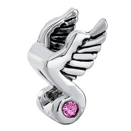 Angel Wings Music Note Pink Rose Crystal Bead In Rhodium Silver Color Plating Charm Fit Pandora Bracelet