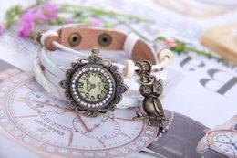Wholesale Vine Watch Leather Strap Drill Women Dress Watch Bronze Owl Pendent Item Hours Wooden Bead Bracelet Watch Antique Watch