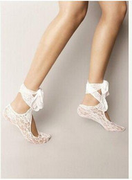 Wholesale 2016 Hottest White Lace Wedding Shoes Socks Custom Made Dance Shoes Activity Socks Bridal Shoes Beach Wear Ribbon Lace Up Socks