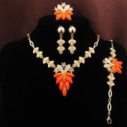 18k Gold Filled Austrian Crystal Necklace Bracelet Earring Ring Wedding Jewelry Set Charming Women