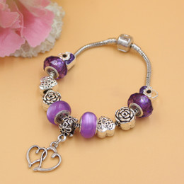 New Arrival Jewelry DIY European Beads Charms Purple Color Beads and Rose Heart Handbag Bead Double Heart Charm Bracelets gift for MOM Gift