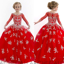 2019 Luxury Red Pageant Dresses Puffy Tulle Appliques Crystals Layered Princess Little Flower Girl with Long Sleeve Custom made