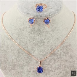 Free Shipping Fashion New Women's 18k Rose Gold Filled blue Garnet Necklace Earring Ring Wedding Bride Jewelry Set Gift