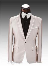 3 pieces Suit Side Vent Champagne Groom Tuxedos Notched Lapel One Button Best Men tton Best Men Wedding Suit Prom Dresses (Jacket+Pants+Tie)
