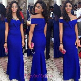Dubai Fashion Royal Blue Mermaid Dresses Evening Wear Off The Shoulder Long Arabic Women Formal Prom Party Gowns For Formal Occasion