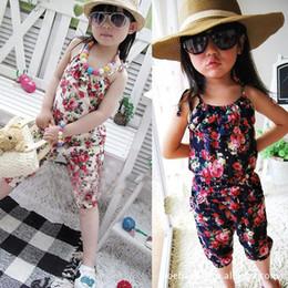 Baby Toddler Girls Kids Summer Sleeveless Floral Jumpsuit Suspender Trousers Pant Playsuit Romper Jumpsuit Top 100% Cotton Flower Print