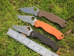 Wholesale Spyderco C81 ParaMilitary Folding Pocket Knife CPM S30V Blade Digital Brown Orange Black G Handle Military Knives