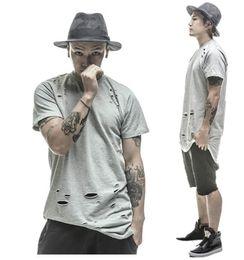 Wholesale 2016 tee shirts étendus hip hop Fashion Hole Streetwear Kanye West manches courtes à manches longues cool swag clothes