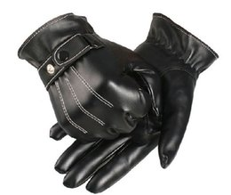 Wholesale Men s Winter Warm Faux Leather Golves Coral Fleece Lined Gloves Touch Screen Black