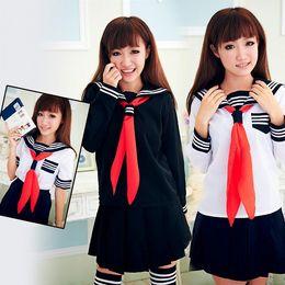 Wholesale School Sailor Outfits - Sailor Navy Fancy Dress Uniform Cosplay Costume School Girl Outfit White Black M8662