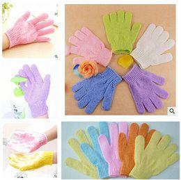 Wholesale DHL Exfoliating Bath Glove Five fingers Bath Gloves bathroom accessories nylon bath gloves Bathing supplies bath products m0531