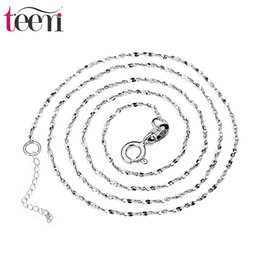 Wholesale Teemi Jewelry Supplier S925 Sterling Silver Necklace with Shining Flakes Charms Wedding Chains Choker for Women Bridal Accessories